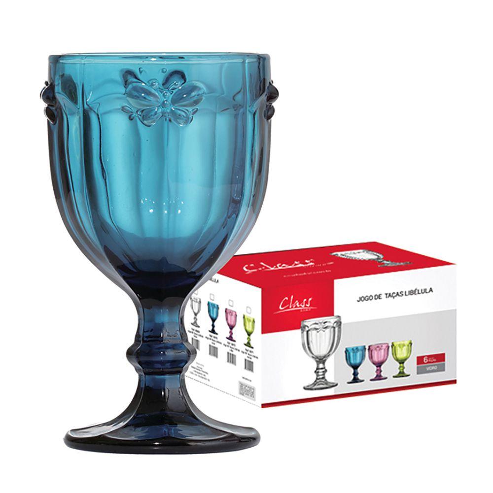 Conjunto de Taças de Água Class Home Libélula Azul 260ml 670 - 6 Peças