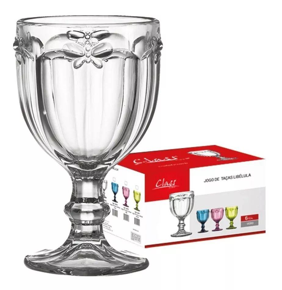 Conjunto de Taças de Água Class Home Libélula Clear em Vidro 1015 - 6 Peças