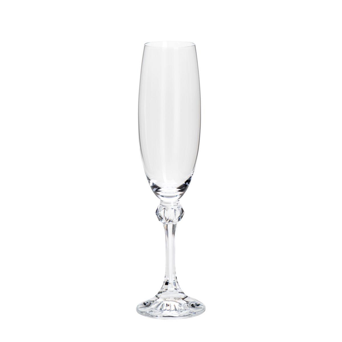 Conjunto de Taças de Champanhe Bohemia Elisa 220ml em Cristal Ecológico 35085 - 6 Peças