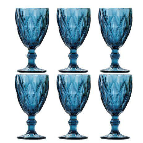 Conjunto de Taças p/ Vinho Lyor Diamond Azul em Cristal 6505 - 6 Peças