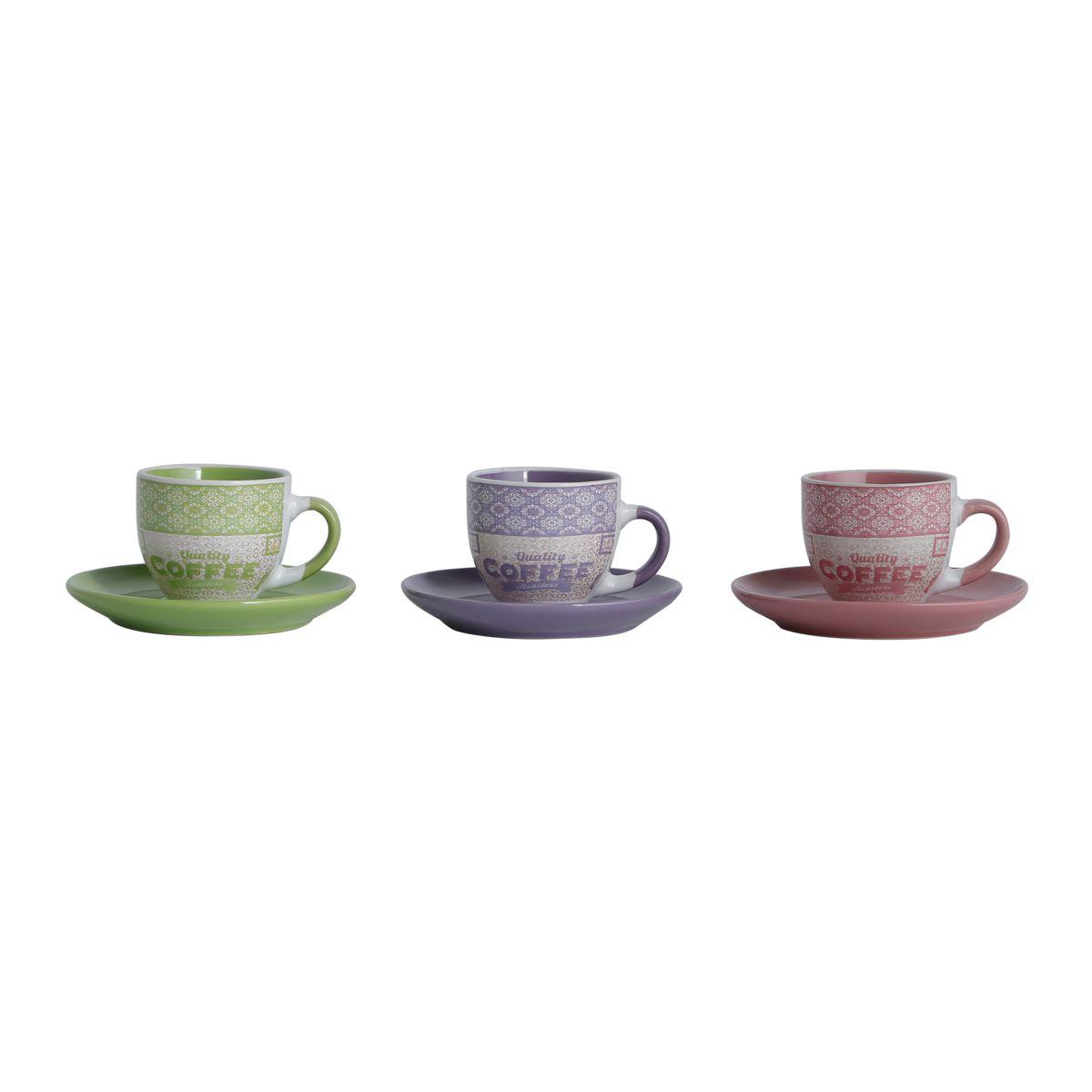 Conjunto de Xícaras de Café Bon Gourmet Colors 90ml 25435 - 12 Peças