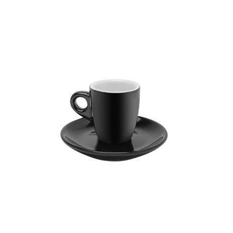 Conjunto de Xícaras de Café Bon Gourmet em Porcelana Preto 70ml 26435 - 12 Peças
