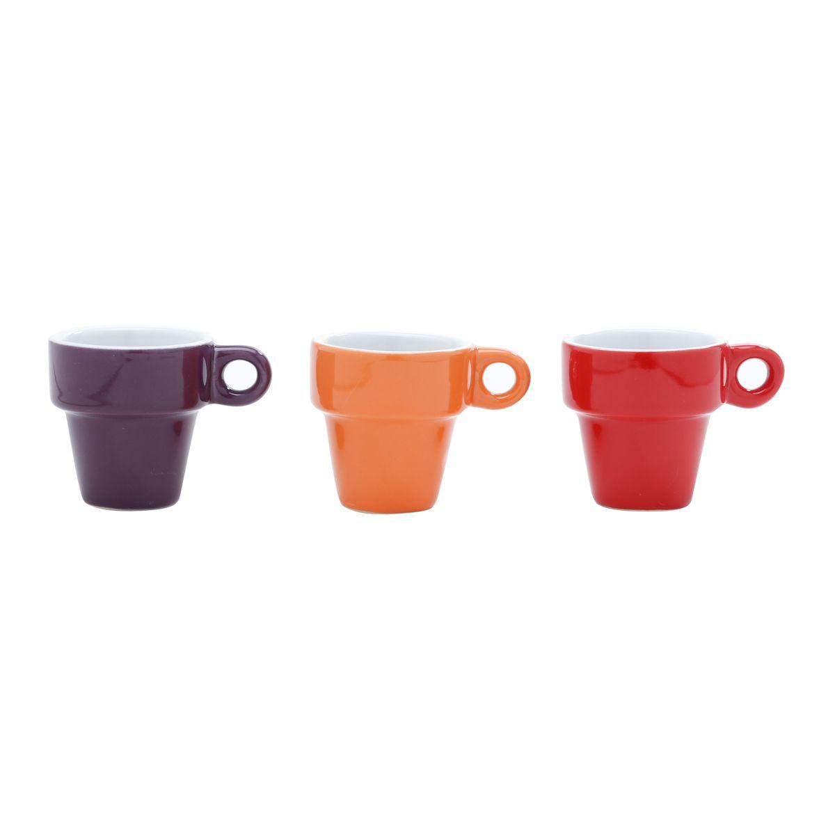 Conjunto de Xícaras de Café c/ Suporte Bon Gourmet Coloridas 60ml em Porcelana 30367 - 7 Peças