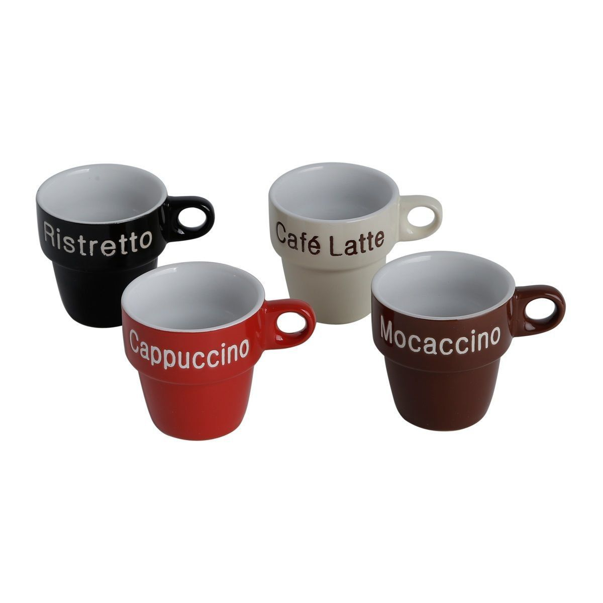Conjunto de Xícaras de Café c/ Suporte Bon Gourmet Names 220ml em Porcelana 30365 - 5 Peças