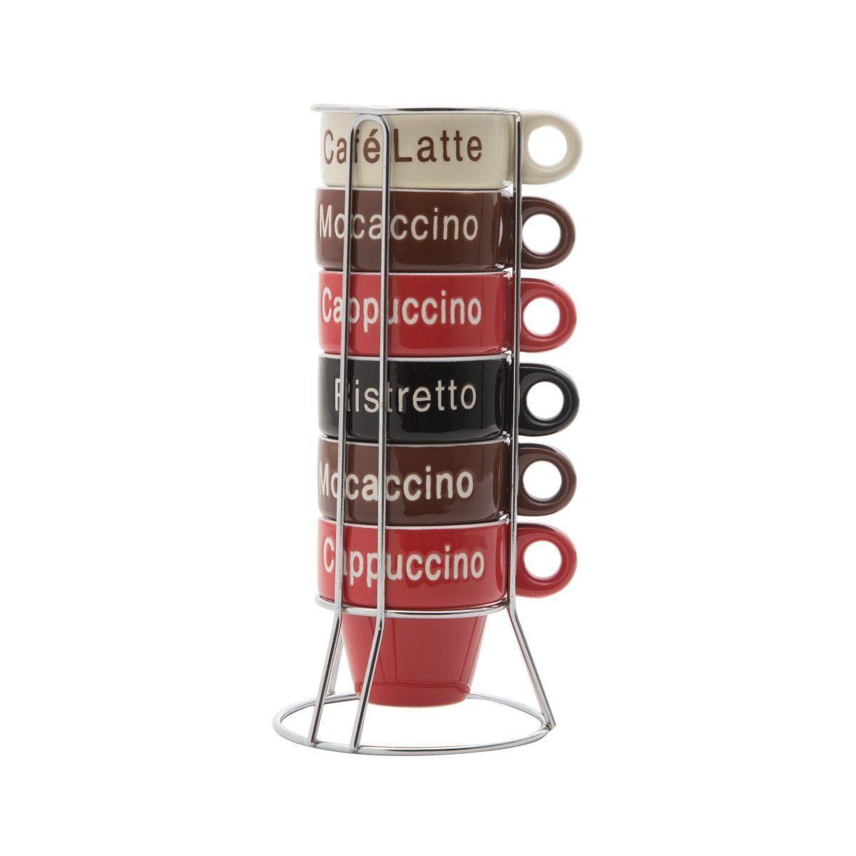Conjunto de Xícaras de Café c/ Suporte Bon Gourmet Names 70ml em Porcelana 30364 - 7 Peças