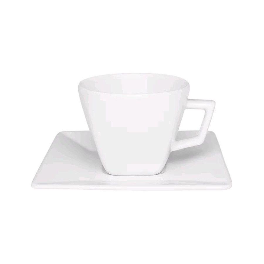Conjunto de Xícaras de Café Oxford Quartier White em Porcelana 75ml 3200 - 12 Peças