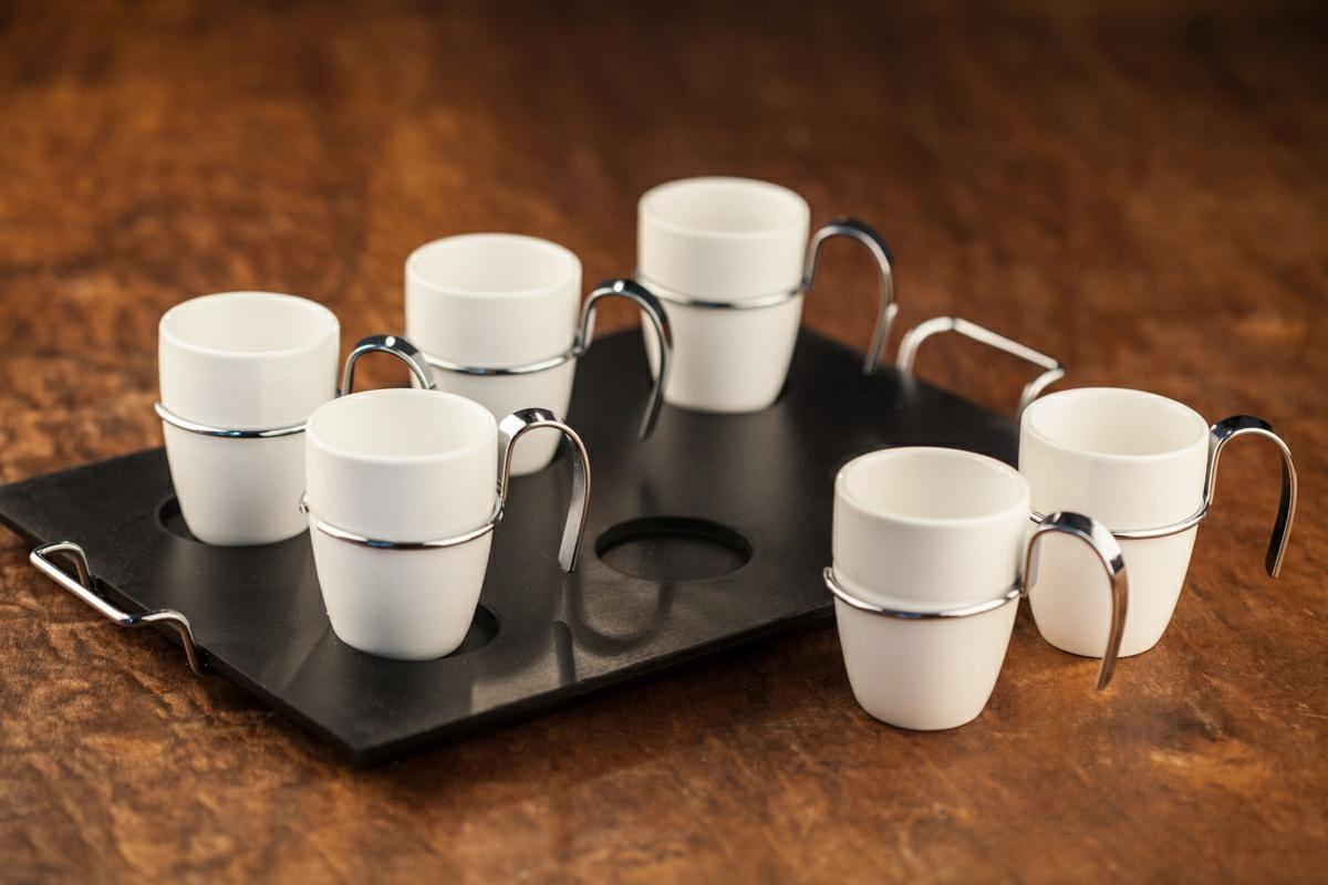 Conjunto de Xícaras de Café Wolff em Porcelana 75ml c/ Bandeja 1199 - 7 Peças