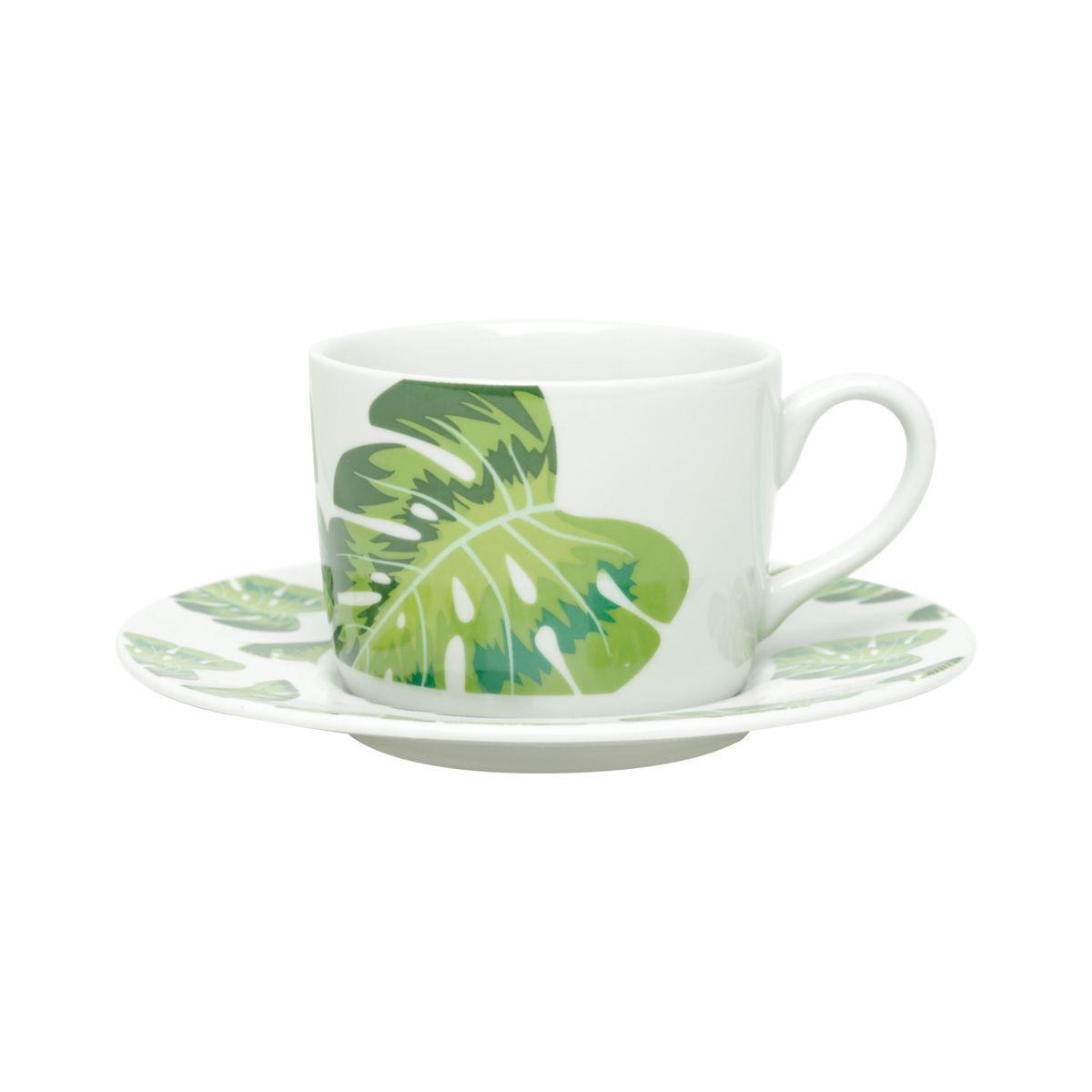 Conjunto de Xícaras de Chá Bon Gourmet Folhas em Porcelana 200ml 17406 - 12 Peças