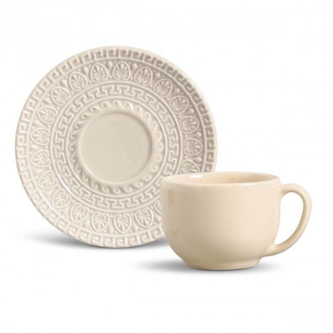 Conjunto de Xícaras de Chá Greek Cru Porto Brasil 36328501 - 12 Peças