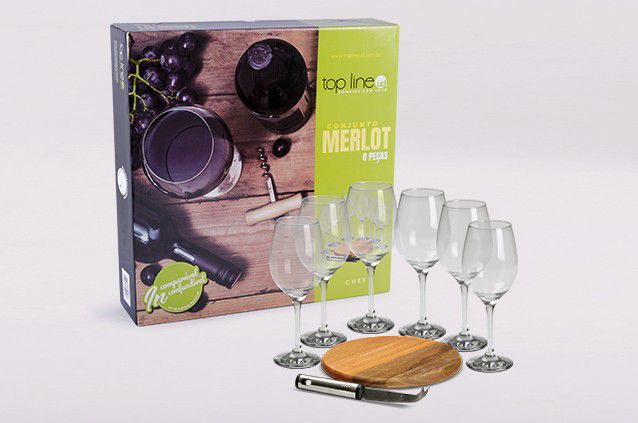 Conjunto Merlot, Queijo e Vinho Top Line 644 - 8 Peças