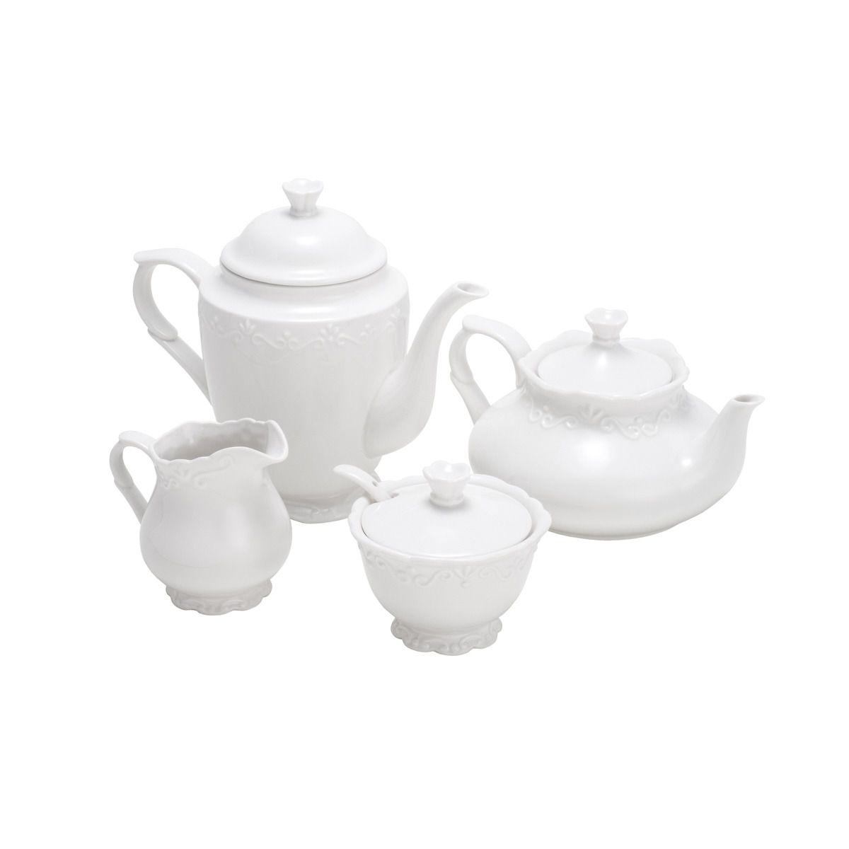 Conjunto para Chá e Café Wolff Alto Relevo em Porcelana 25094 - 4 Peças
