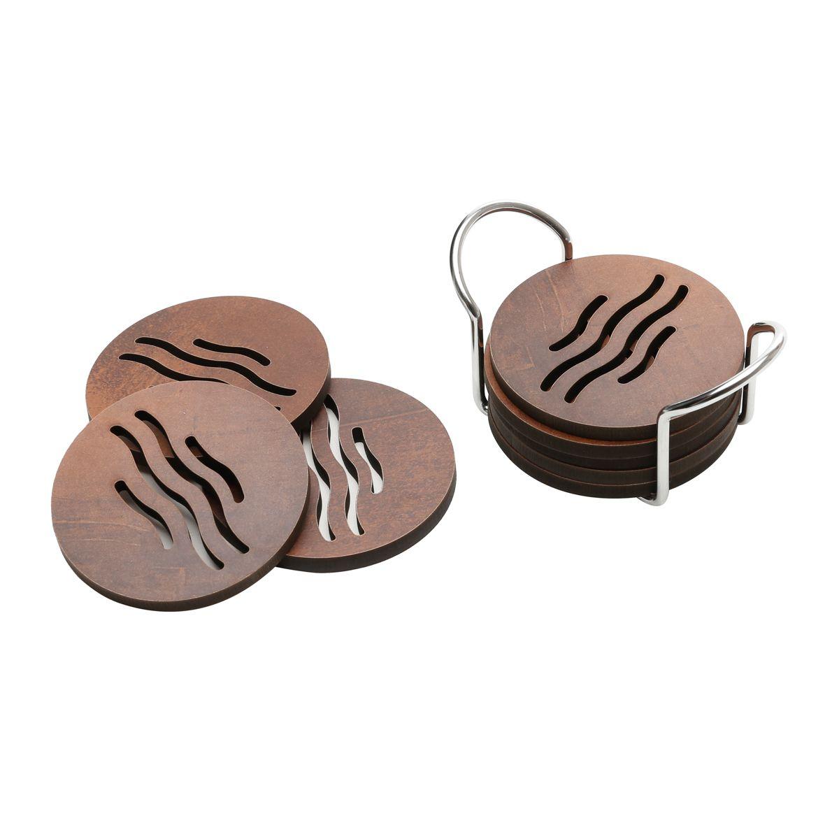 Conjunto Porta Copos Woodart em Madeira c/ Suporte de Metal Quartzo 12677 - 7 Peças