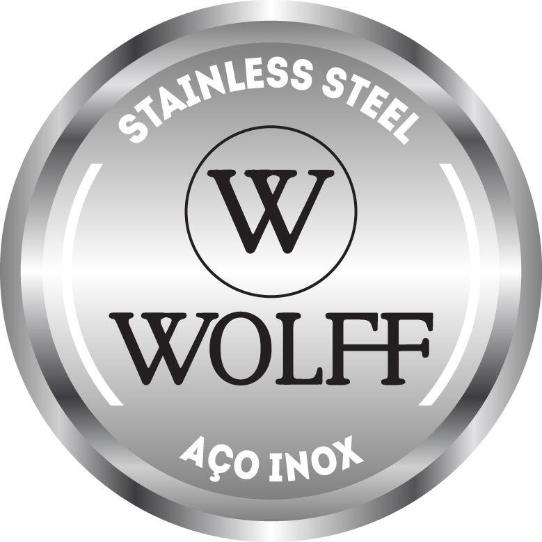 Faqueiro Wolf Croisé em Aço Inox c/ Estojo de Madeira 77003 - 130 Peças