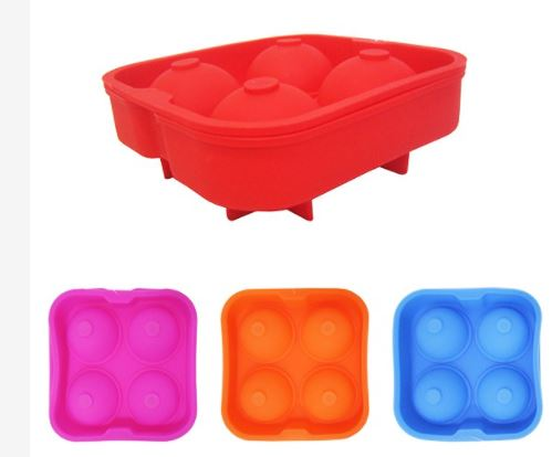 Forma Flexível De Silicone Para Gelo Com 4 Cavidades - Vermelho
