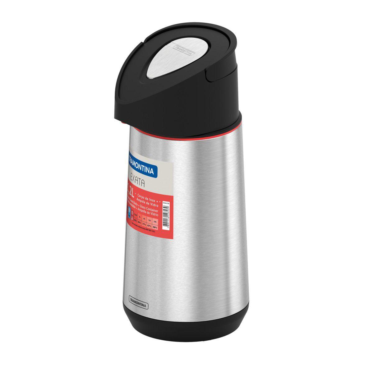 Garrafa Térmica Tramontina Exata em Aço Inox c/ Ampola de Vidro 1,2L 61641120