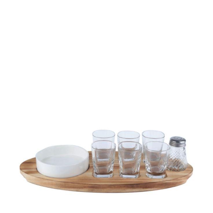 Jogo Com7 Peças Copos Dose Com tabua Little Pots Vidro Transparente 40434