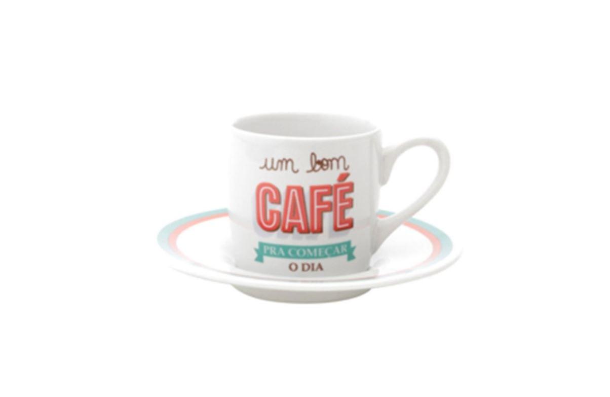 Jogo de 6 Xícaras Café Com Pires de Porcelana Bom Dia 90ml 8333 - Lyor