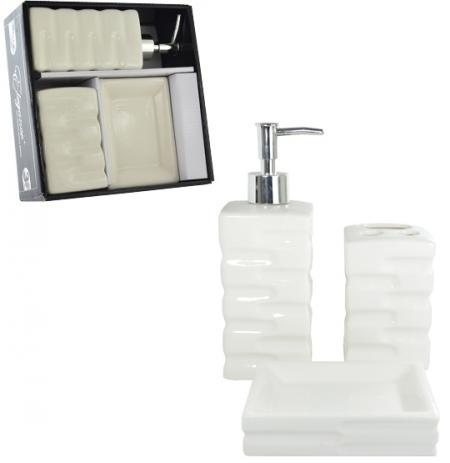 Jogo p/ Banheiro Wincy Casa em Porcelana PRB01006 - 3 Peças