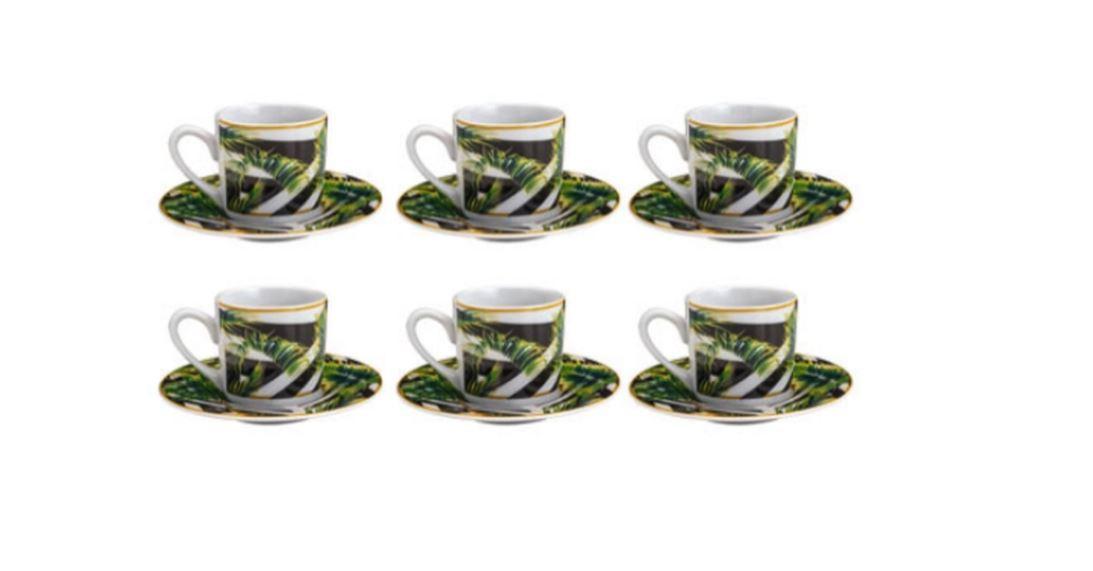 Jogo Xicara P/ Cafe Tropical Garden 90 Ml 6 Pcs 8443 - Lyor