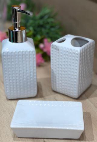 Kit Banheiro De Porcelana 3 Peças - Agudos Comércio