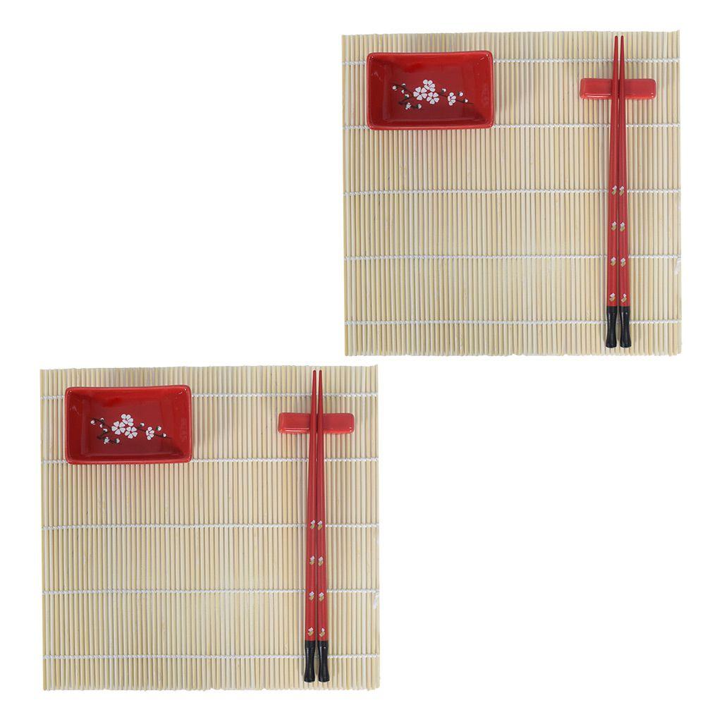 Kit Comida Japonesa p/ 2 Pessoas BTC Vermelho MM3012 - 8 Peças