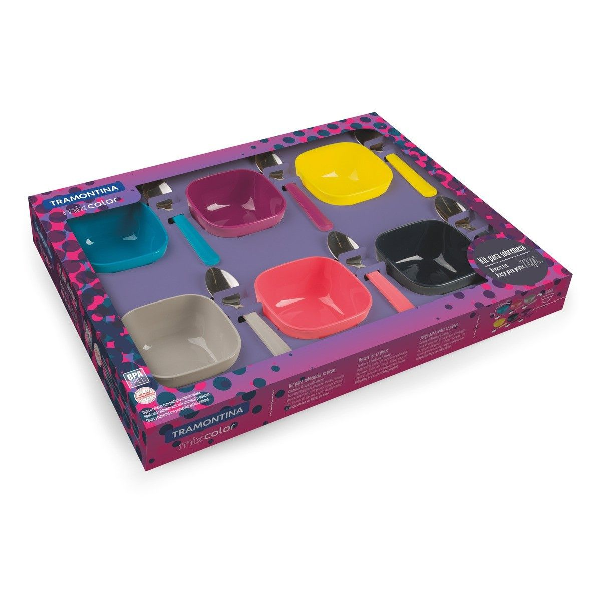 Kit para Sobremesa Tramontina Mixcolor 25099943 - 12 Peças