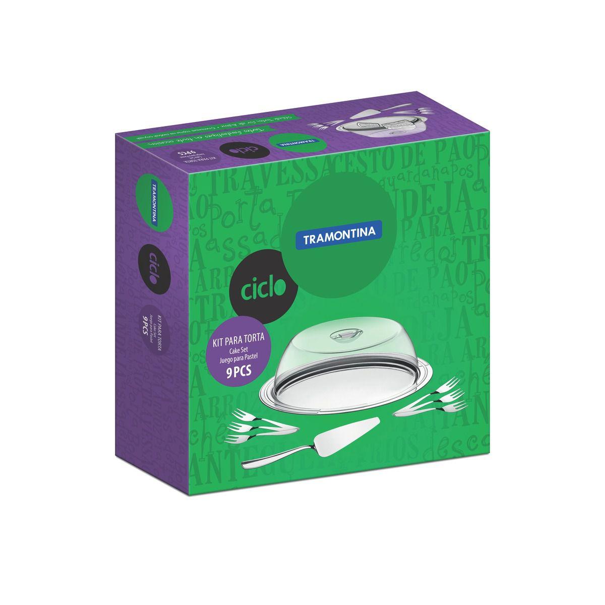 Kit para Torta Tramontina Ciclo em Aço Inox 64510880 - 9 Peças