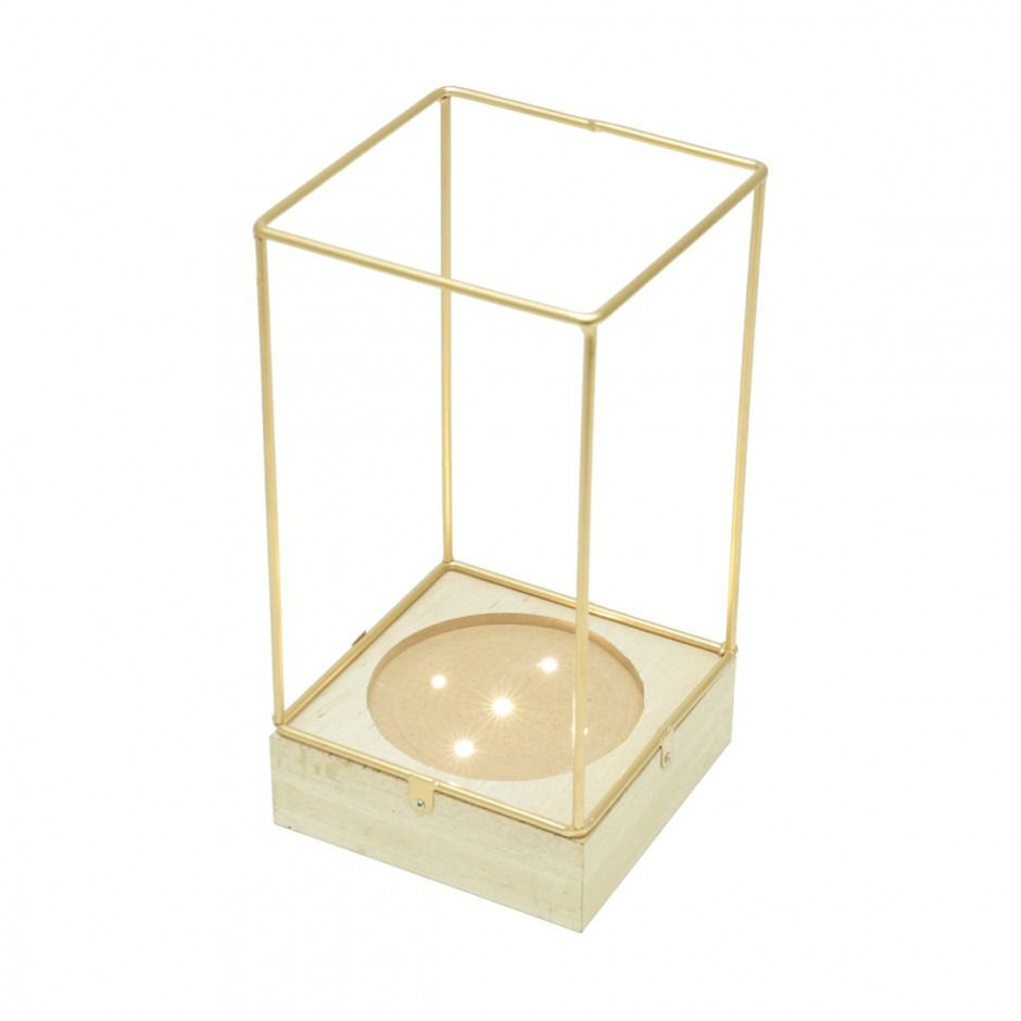 Luminária c/ Led Urban Corrugated Glass Dourada 42058
