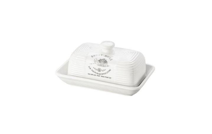 Manteigueira C/tampa De Ceramica Sweet Home 16,5x10,5cm