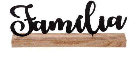Palavra Família -suporte Em Madeira Família Em Metal 28x 12