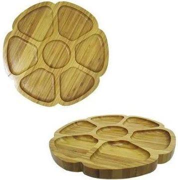 Petisqueira De Bambu Redonda Modelo Flor Com 07 Divisorias 7898513880713 Agudos Comercio