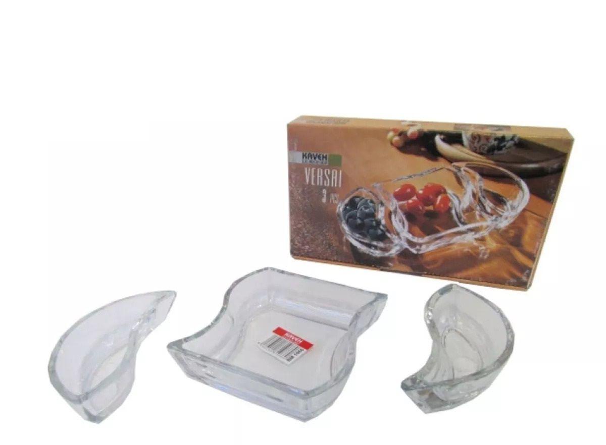 Petisqueira Kaveh Versai em Vidro Lisa BM1066 - 3 Peças