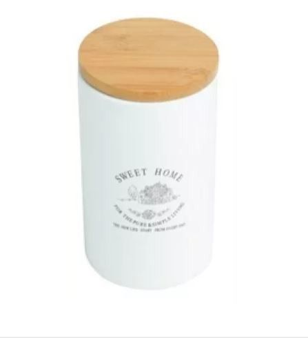 Pote De Ceramica C/tampa De Madeira Sweet Home 1l