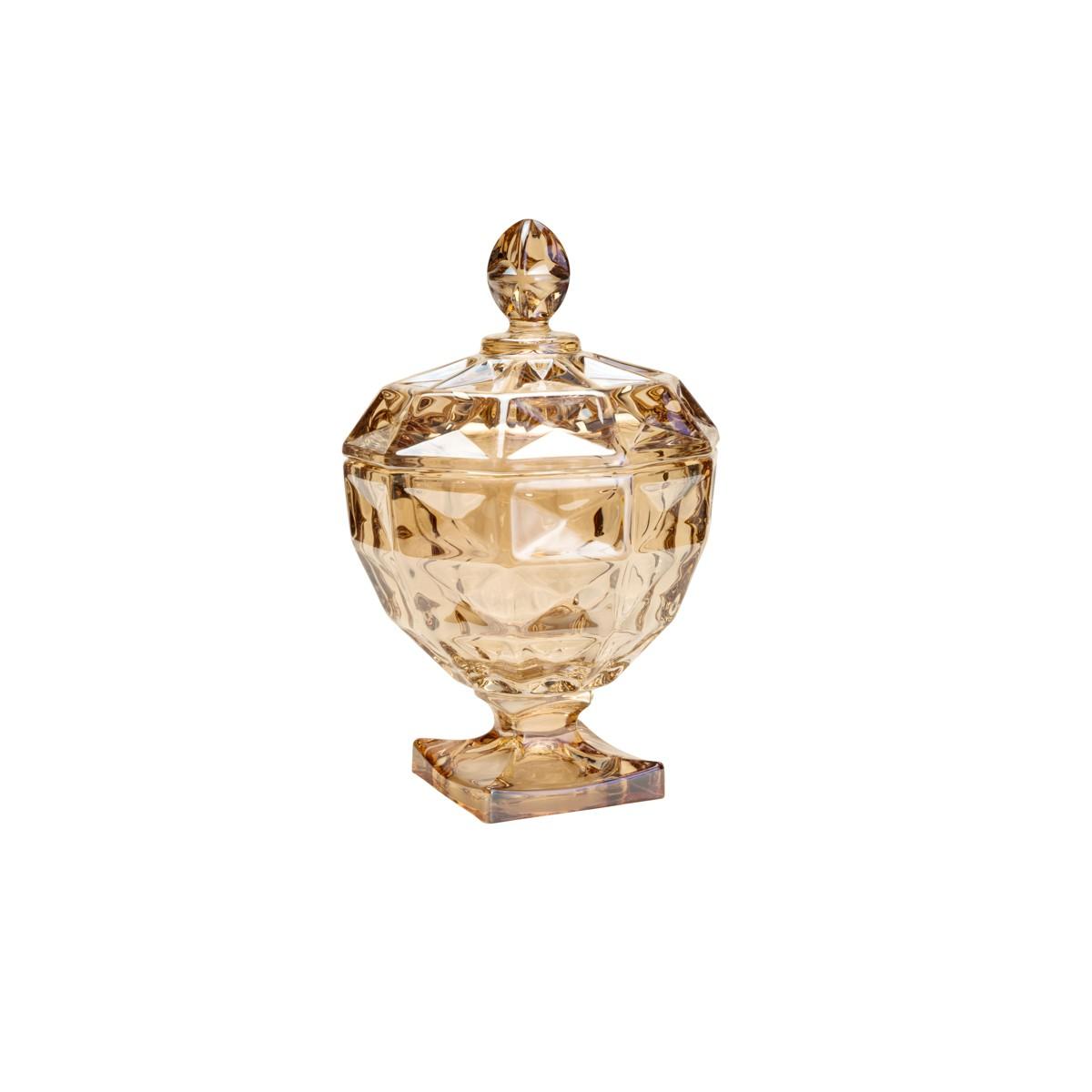 Potiche Decorativo De Cristal De Chumbo Com Pé e Tampá Diamant Ambar Rojemac - 26061