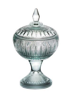 Potiche Decorativo Queen Com Pé Cristal Verde 18xØ11cm Rojemac - 28015