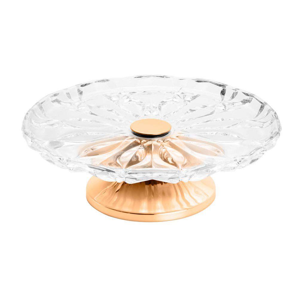 Prato p/ Bolo em Vidro Wolff Louise c/ Pé em Aço Rosé Gold 87050