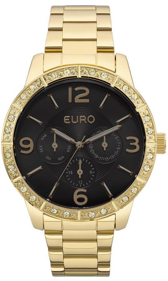 Relógio Feminino Euro Metal Glam Dourado EU6P29AGX/4P