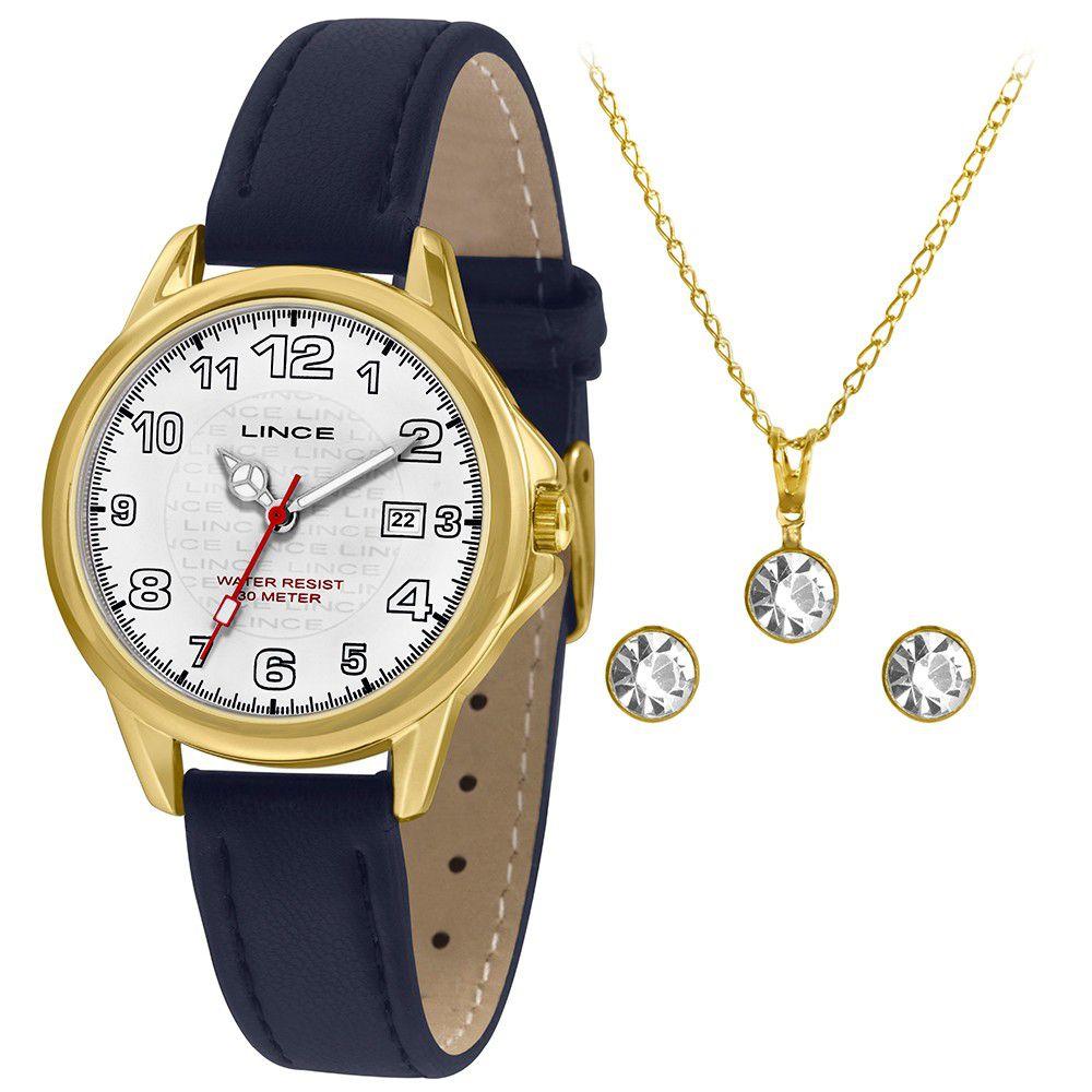 Relógio Feminino Lince Analógico Branco Kit c/ Colar e Brincos LRCH104L-KW59B2DX