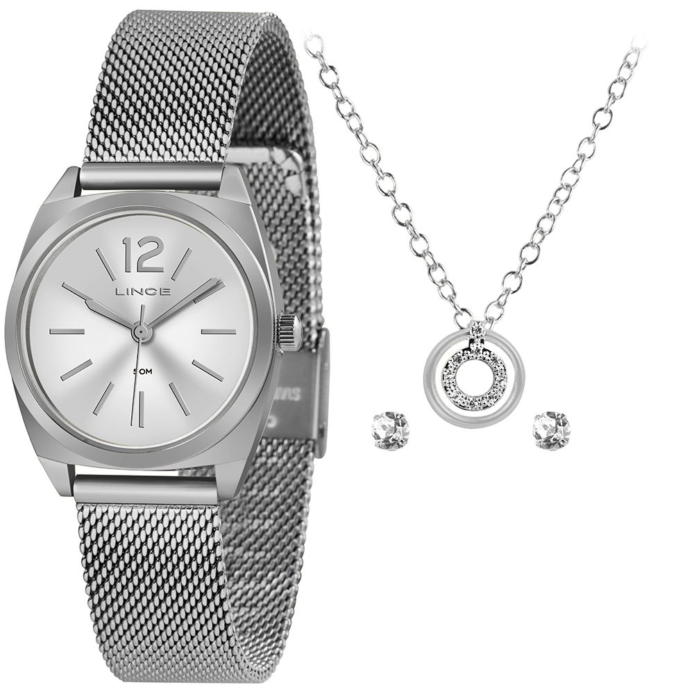 Relógio Feminino Lince Analógico Prata Kit c/ Colar e Brincos LRMH121L-KX33S2SX
