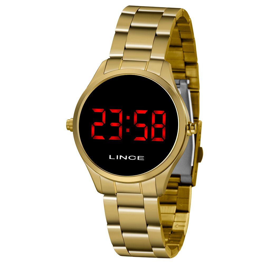 Relógio Feminino Lince LED Dourado MDG4618L-VXKX