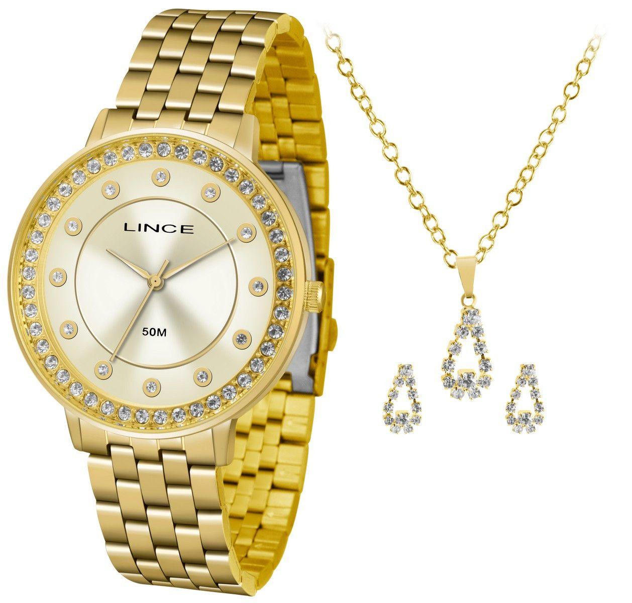 Relógio Feminino Lince Urban Dourado Kit c/ Colar e Brincos LRGH090L-KV54C1KX