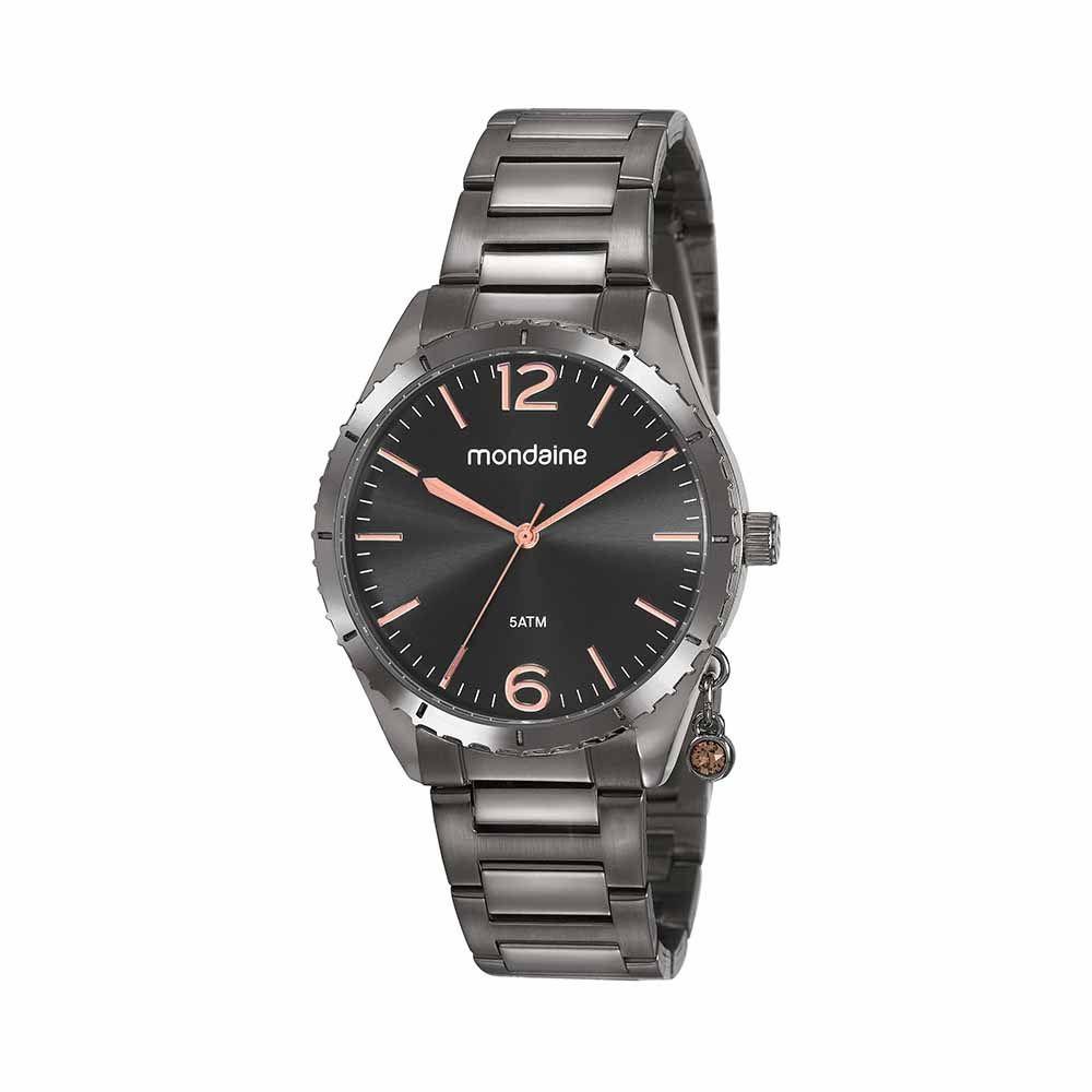 Relógio Feminino Mondaine Analógico Preto Kit c/ Pingente 53757LPMVSE2