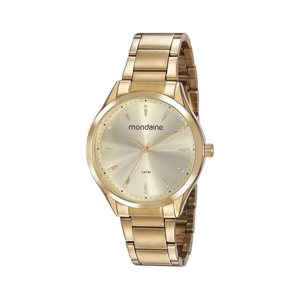 Relógio Feminino Mondaine Cristais Dourado 53817LPMVDE1