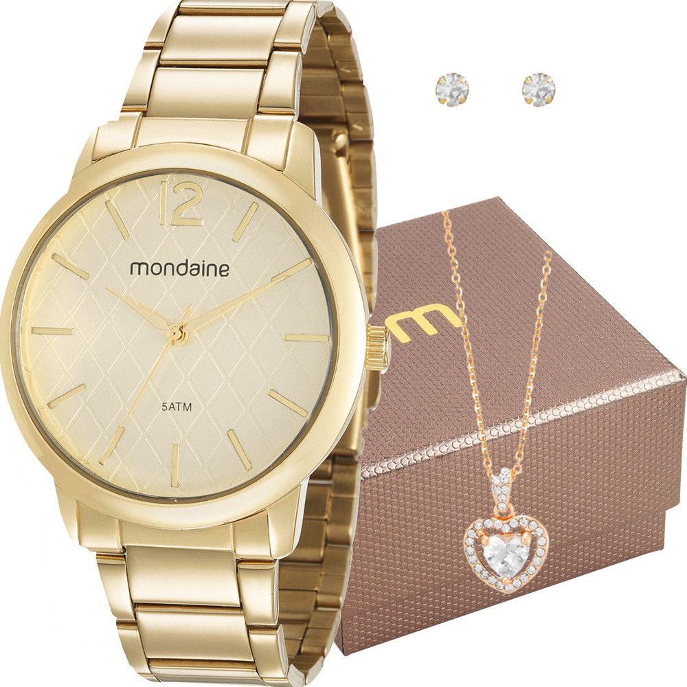 Relógio Feminino Mondaine Analógico Dourado Kit c/ Colar 53607LPMVDE1K1