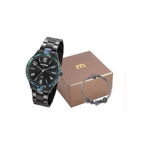 Relógio Feminino Mondaine Analógico Preto Kit c/ Pulseira 53624LPMVPE2K1