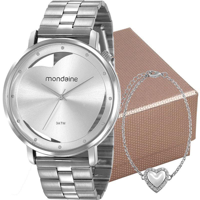 Relógio Feminino Mondaine Analógico Prata Kit c/ Pulseira 53748L0MKNE3K1