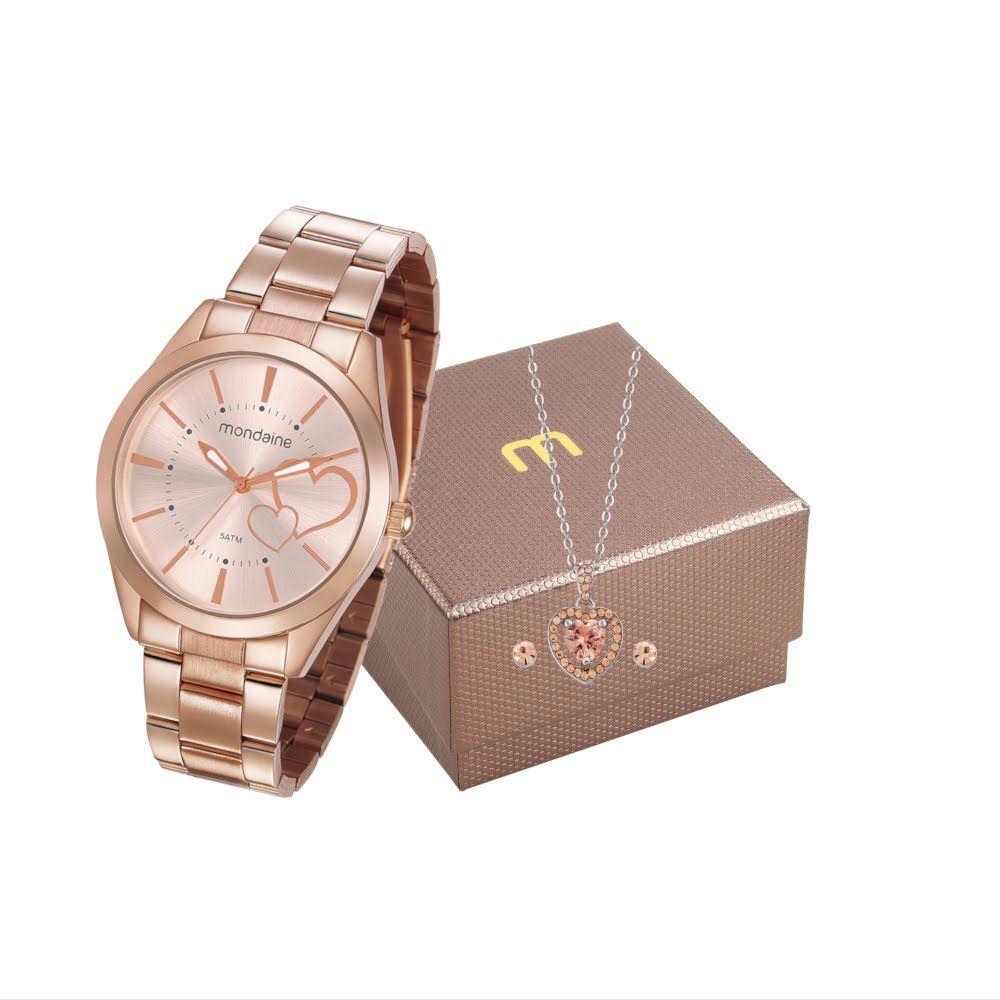 Relógio Feminino Mondaine Analógico Rosa Kit c/ Semijóia 53690LPMGRE4K1