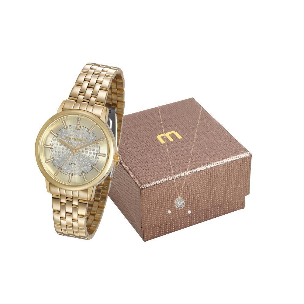 Relógio Feminino Mondaine Analógico Dourado Kit c/ Semijóia 99301LPMGDE1K1