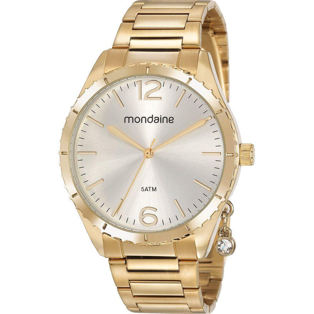 Relógio Feminino Mondaine Pingente Dourado 53757LPMVDE1
