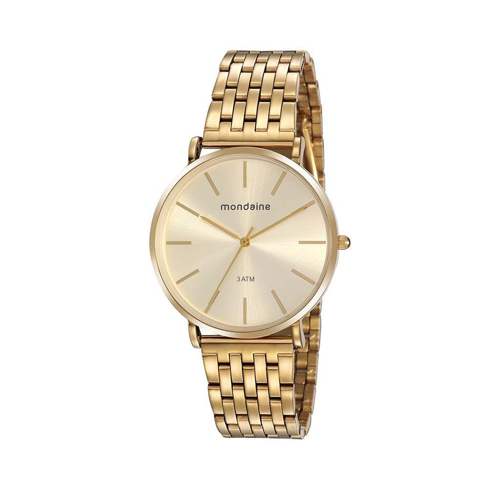 Relógio Feminino Mondaine Slim Minimalista Dourado 76736LPMVDE2
